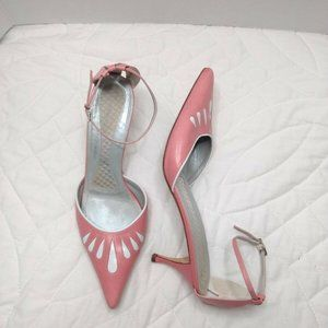 BCBGMaxAzria Pink White Leather Heels Pointed Toe